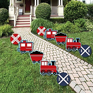 Railroad Party Crossing - Train Lawn Decorations - Outdoor Steam Train Birthday Party or Baby Shower Yard Decorations - 10 Piece