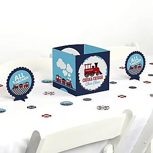 Railroad Party Crossing - Steam Train Birthday Party or Baby Shower Centerpiece and Table Decoration Kit