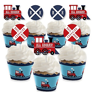 Railroad Party Crossing - Cupcake Decorations - Steam Train Birthday Party or Baby Shower Cupcake Wrappers and Treat Picks Kit - Set of 24