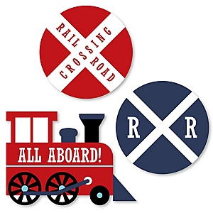 Railroad Party Crossing - DIY Shaped Steam Train Birthday Party or Baby Shower Cut-Outs - 24 ct
