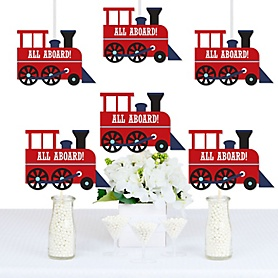Railroad Party Crossing - Train Decorations DIY Steam Train Birthday Party or Baby Shower Essentials - Set of 20