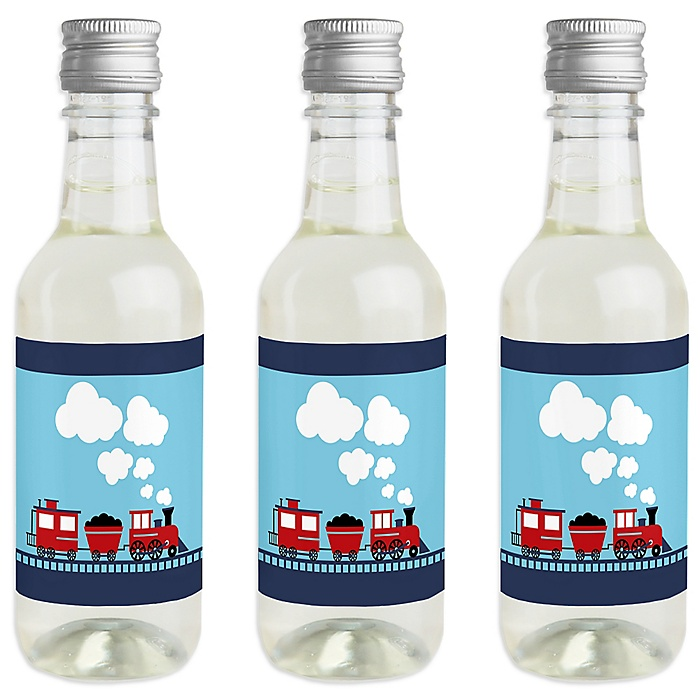 Railroad Party Crossing - Mini Wine and Champagne Bottle Label Stickers - Steam Train Birthday Party or Baby Shower Favor Gift for Women and Men - Set of 16