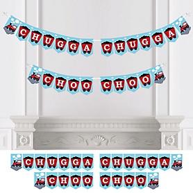 Railroad Party Crossing - Steam Train Birthday Party or Baby Shower Bunting Banner - Party Decorations - Chugga Chugga Choo Choo