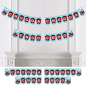 Railroad Party Crossing - Steam Train Birthday Party or Baby Shower Bunting Banner - Party Decorations - Chugga Chugga Choo Choo
