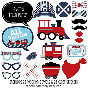 Railroad Party Crossing - 20 Piece Steam Train Birthday Party or Baby Shower Photo Booth Props Kit