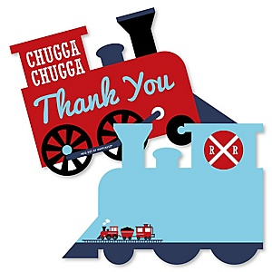 Railroad Party Crossing - Shaped Thank You Cards - Steam Train Birthday Party or Baby Shower Thank You Note Cards with Envelopes - Set of 12