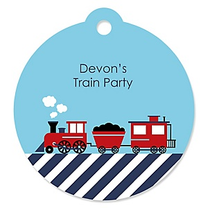 Railroad Party Crossing - Personalized Steam Train Birthday Party or Baby Shower Favor Gift Tags (Set of 20)