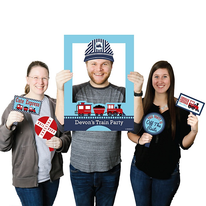 Railroad Party Crossing - Personalized Steam Train Birthday Party or Baby Shower Selfie Photo Booth Picture Frame & Props - Printed on Sturdy Material