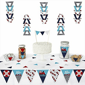 Railroad Party Crossing -  Triangle Steam Train Birthday Party or Baby Shower Decoration Kit - 72 Piece