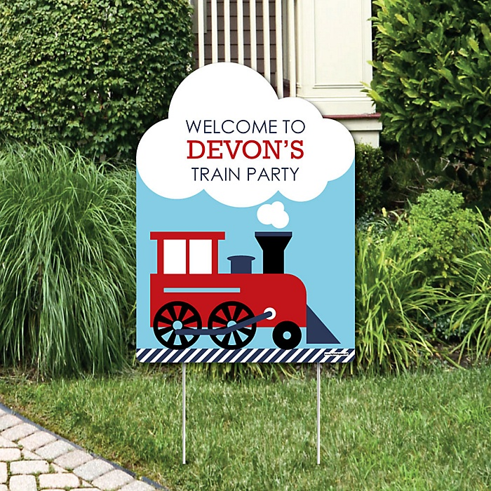 Railroad Party Crossing - Party Decorations - Steam Train Birthday Party or Baby Shower Personalized Welcome Yard Sign