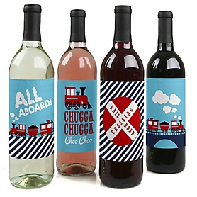 Railroad Party Crossing - Steam Train Birthday Party or Baby Shower Decorations for Women and Men - Wine Bottle Label Stickers - Set of 4