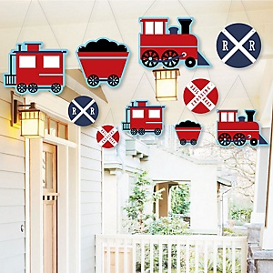 Hanging Railroad Party Crossing - Outdoor Steam Train Birthday Party or Baby Shower Hanging Porch & Tree Yard Decorations - 10 Pieces
