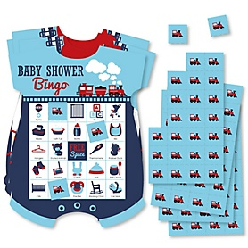 Railroad Party Crossing - Picture Bingo Cards and Markers - Steam Train Baby Shower Shaped Bingo Game - Set of 18