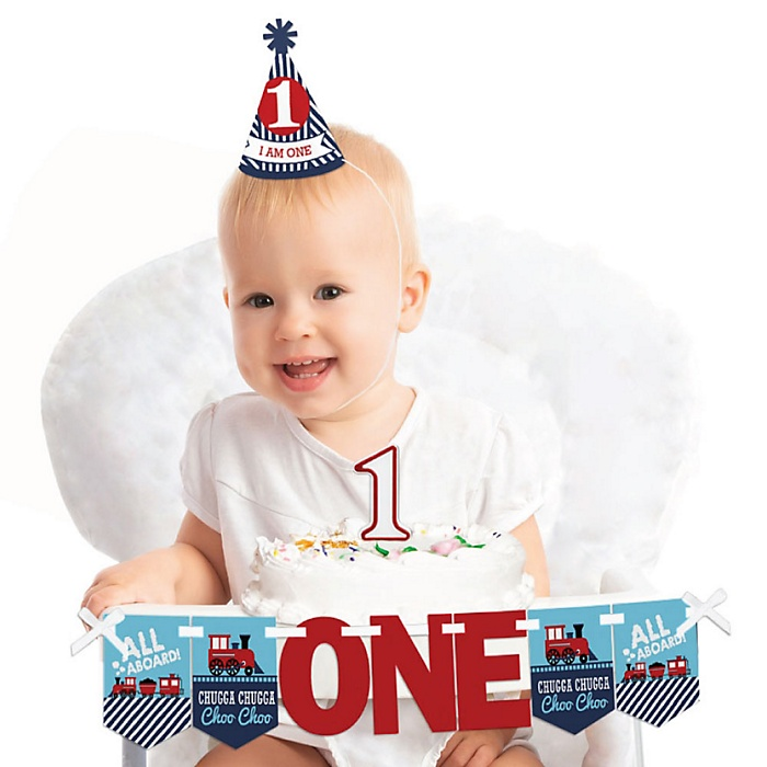 Railroad Party Crossing 1st Birthday - First Birthday Boy Smash Cake Decorating Kit - High Chair Decorations
