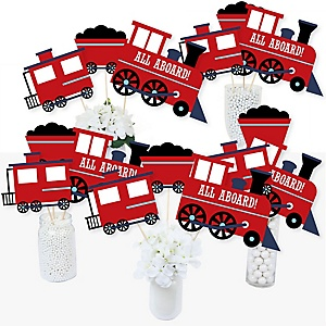 Railroad Party Crossing - Steam Train Birthday Party or Baby Shower Centerpiece Sticks - Table Toppers - Set of 15