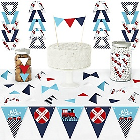 Railroad Party Crossing - DIY Pennant Banner Decorations - Steam Train Birthday Party or Baby Shower Triangle Kit - 99 Pieces