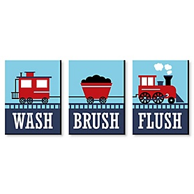 Railroad Party Crossing - Steam Train - Kids Bathroom Rules Wall Art - 7.5 x 10 inches - Set of 3 Signs - Wash, Brush, Flush