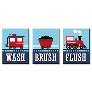 "Railroad Party Crossing - Steam Train - Kids Bathroom Rules Wall Art - 7.5"" x 10"" - Set of 3 Signs - Wash, Brush, Flush"
