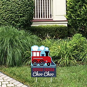 Railroad Party Crossing - Outdoor Lawn Sign - Steam Train Birthday Party or Baby Shower Yard Sign - 1 Piece