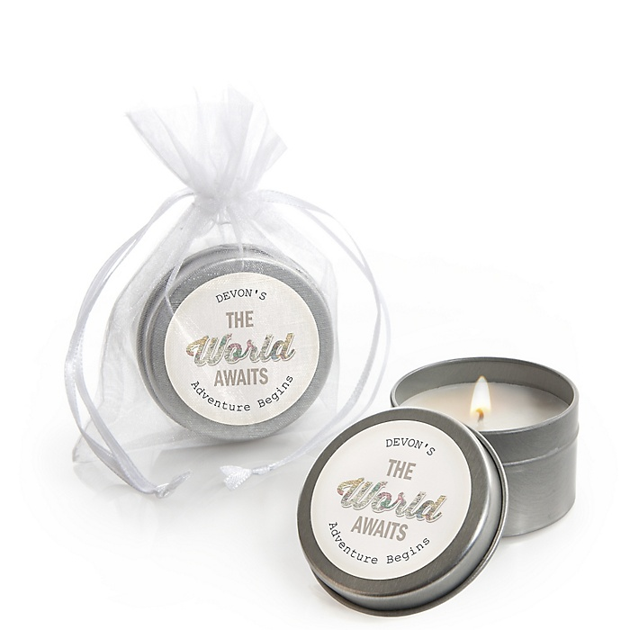 World Awaits - Personalized Graduation Candle Tin Favors - Set of 12