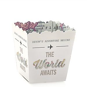 World Awaits - Party Mini Favor Boxes - Personalized Graduation Treat Candy Boxes - Set of 12