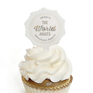 World Awaits - Personalized Graduation Cupcake Pick and Sticker Kit - 12 ct
