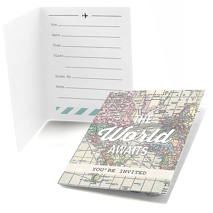 World Awaits - Graduation Party Fill In Invitations - 8 ct