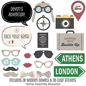 World Awaits - 20 Piece Photo Booth Props Kit