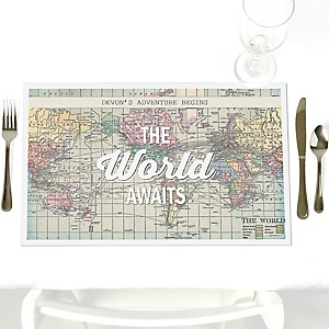 World Awaits - Party Table Decorations - Personalized Graduation Placemats - Set of 12
