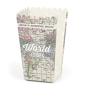 World Awaits - Personalized Travel Themed Graduation Popcorn Favor Treat Boxes - Set of 12