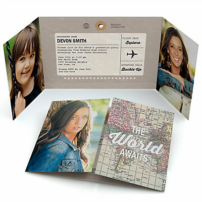 world awaits personalized photo graduation invitations set of 12