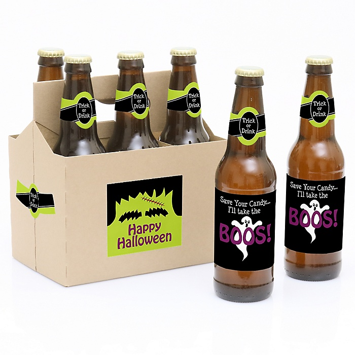 Trick or Treat - Decorations for Women and Men - 6 Halloween Beer Bottle Label Stickers and 1 Carrier