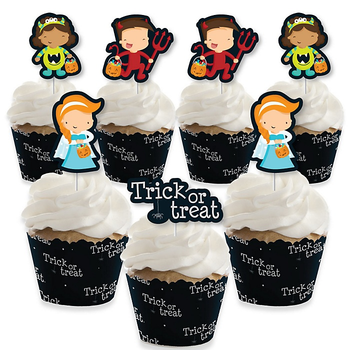 Trick or Treat - Cupcake Decoration - Halloween Party Cupcake Wrappers and Treat Picks Kit - Set of 24