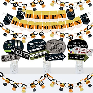 Trick or Treat - Banner and Photo Booth Decorations - Halloween Party Supplies Kit - Doterrific Bundle