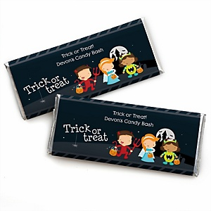 Trick or Treat - Personalized Candy Bar Wrappers Halloween Party Favors - Set of 24