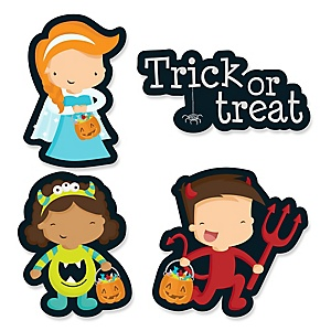 Trick or Treat - DIY Shaped Halloween Party Paper Cut-Outs - 24 ct