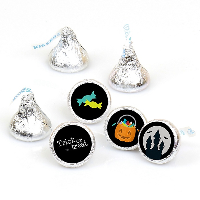 Trick or Treat - Round Candy Labels Halloween Party Favors - Fits Hershey's Kisses - 108 ct