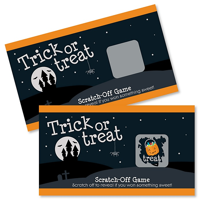 Trick or Treat - Halloween Party Game Scratch Off Cards - 22 Count