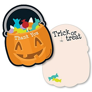 Trick or Treat - Shaped Thank You Cards - Halloween Party Thank You Note Cards with Envelopes - Set of 12