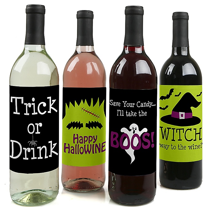 Trick or Treat - Halloween Decorations for Women and Men - Wine Bottle Label Stickers - Set of 4