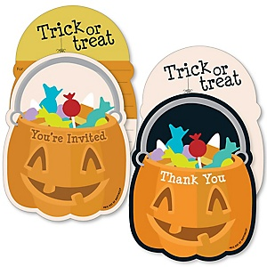 Trick or Treat - 20 Shaped Fill-In Invitations and 20 Shaped Thank You Cards Kit - Halloween Party Stationery Kit - 40 Pack