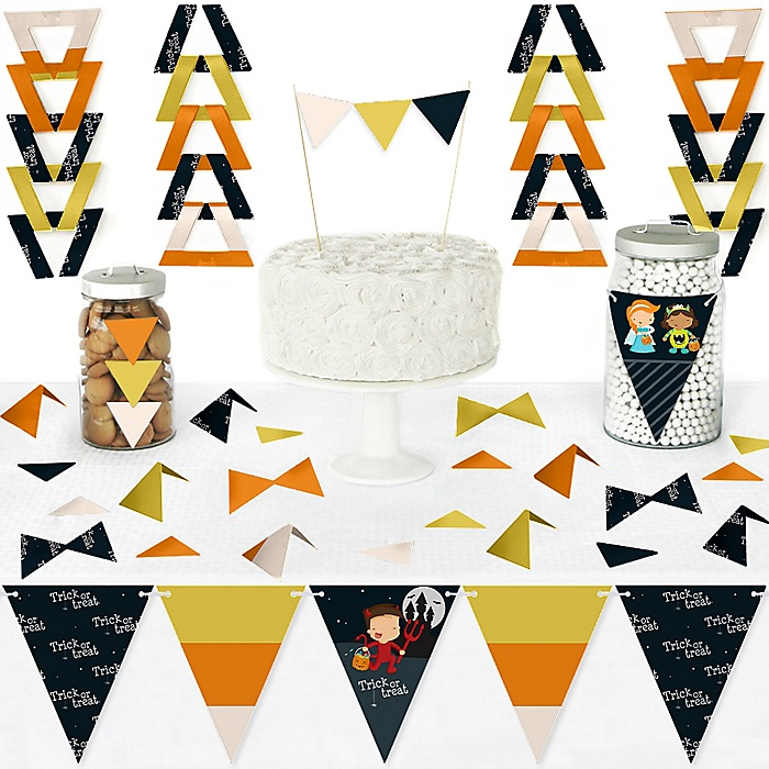 Trick or Treat - DIY Pennant Banner Decorations - Halloween Party Triangle Kit - 99 Pieces