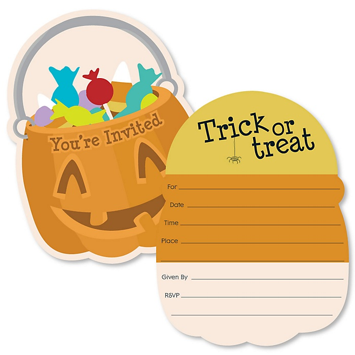 Trick or Treat - Shaped Fill-In Invitations - Halloween Party Invitation Cards with Envelopes - Set of 12