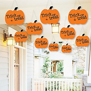 Hanging Trick or Treat - Outdoor Halloween Party Hanging Porch & Tree Yard Decorations - 10 Pieces