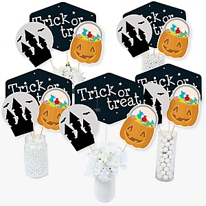 Trick or Treat - Halloween Party Centerpiece Sticks - Table Toppers - Set of 15