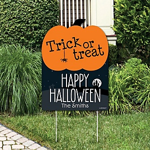 Trick or Treat - Outdoor Halloween Decorations - Personalized Halloween Yard Sign