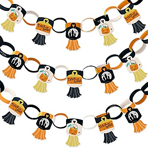 Trick or Treat - 90 Chain Links and 30 Paper Tassels Decoration Kit - Halloween Party Paper Chains Garland - 21 feet