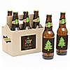 Rustic Joy - 6 Holiday & Christmas Party Beer Bottle Label Stickers and 1 Carrier