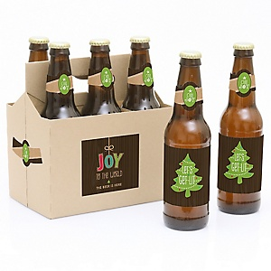 Rustic Joy - Decorations for Women and Men - 6 Holiday & Christmas Party Beer Bottle Label Stickers and 1 Carrier