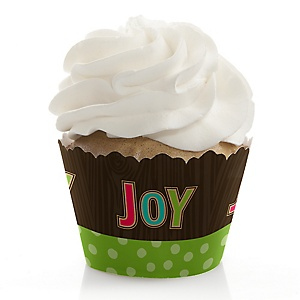 Rustic Joy - Holiday & Christmas Party Decorations - Party Cupcake Wrappers - Set of 12